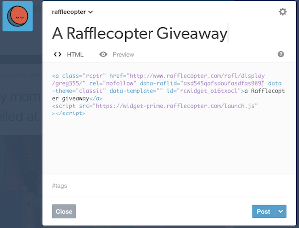 installing giveaways on tumblr rafflecopter support