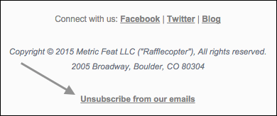 Rafflecopter unsubscribe